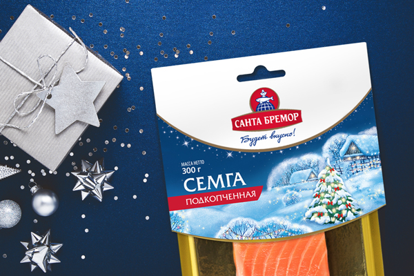 Salmon as a holiday attribute: the New Year's packaging design for Santa Bremor salmon and trout